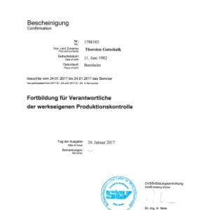 Forbildung werkseigene Produktionskontrolle 2017