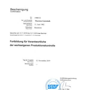 Forbildung werkseigene Produktionskontrolle 2019