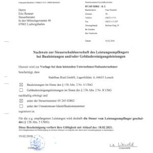 Freistellungsbescheinigung nach §13b