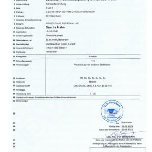 Schweißerprüfung nach DIN EN ISO 17660-1 Sascha Hahn