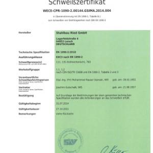 Schweißzertifikat DIN EN 1090-2 EXC3