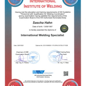 Zertifikat IWS Sascha Hahn