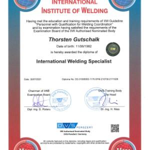 Zertifikat IWS Thorsten Gutschalk