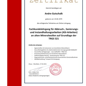 Zertifikat TRGS 521 Andre Gutschalk