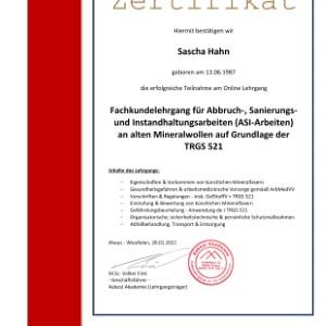 Zertifikat TRGS 521 Sascha Hahn
