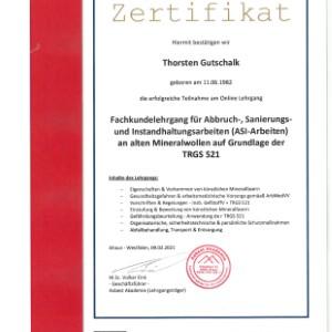 Zertifikat TRGS 521 Thorsten Gutschalk
