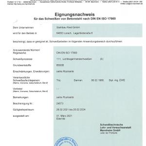 SLV Eignungsnachweis Betonstahl DIN EN ISO 17660